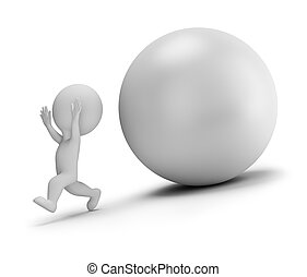3d small people - runs away from the rolling ball