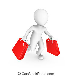 3d small people. Sale and shopping concept.