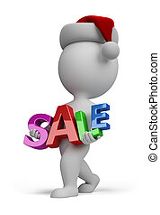 3d small people - Santa carries sign SALE