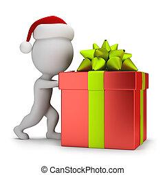 3d small people - Santa pushing a gift