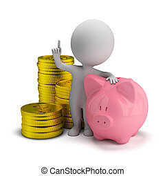 3d small people - savings - 3d small person with piggy bank...