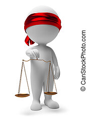 3d small people with scales. A justice symbol. 3d image. Isolated white background.
