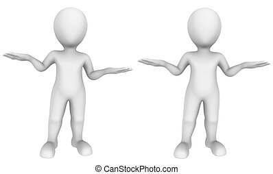 3d small people. Scales gesture.