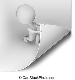 3d small person - scroll the large page. 3d image. Isolated white background.