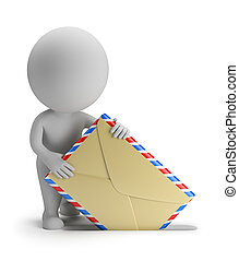 3d small person sends letter. 3d image. Isolated white background.