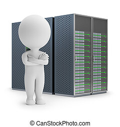 3d small person standing on a background server. 3d image. White background.