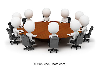 3d small people - session behind a round table. 3d image....