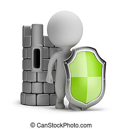 3d small person with a shield near the Castle. 3d image. White background.