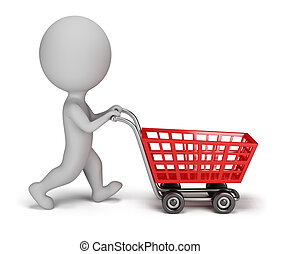 3d small person with a shopping cart. 3d image. Isolated white background.