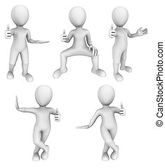 3d small people show double thumbs up