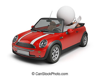 3d small people driving the small car. 3d image. Isolated white background.