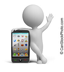 3d small person standing near to the smart phone and waving a hand. 3d image. Isolated white background.