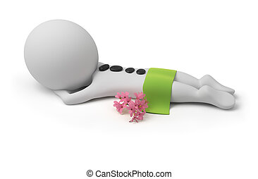 3d small person lying on spa to procedure with stones on a back, a towel and flowers. 3d image. Isolated white background.