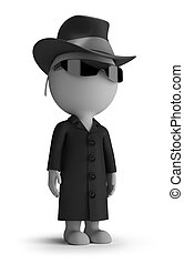 3d small people - spy - 3d small person - spy wearing a hat,...