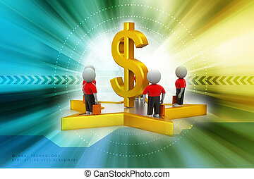 3d small people standing on a star and dollar sign