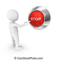 3d small people. Stop button.