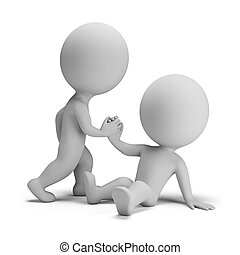 3d small person helps another to stand. 3d image. White background.