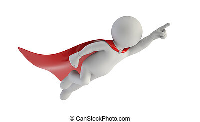 3d small people - Super man, Isolated white background