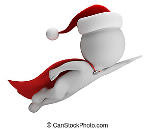 3d small people - Super Santa - 3d small person - flying...