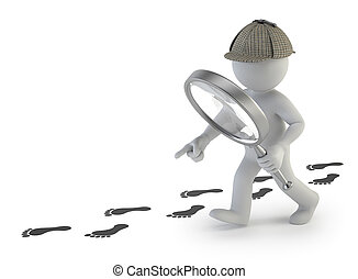 3d small people - super sleuth, Isolated white background...