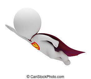 3d small people - superman in a raincoat flies. 3d image....