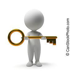 3d small people with a gold key in hands. 3d image. Isolated white background.