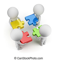 3d small people - team with multi-colored puzzles. 3d image. Isolated white background.