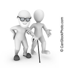 3d small people, the person helps the old man
