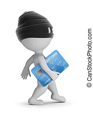 3d small people - thief with a credit card