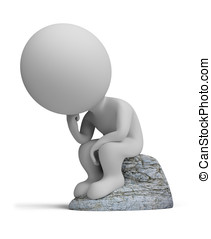3d small people - thinker - 3d small person sitting in a...
