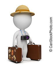 3d small people - tourist with suitcases and the camera. 3d ...