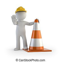 3d small people - traffic cone