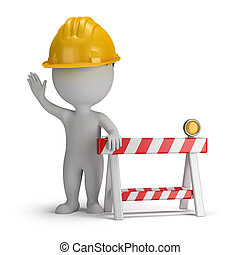 3d small person in a helmet in the stop position, close to the limit stop. 3d image. White background.