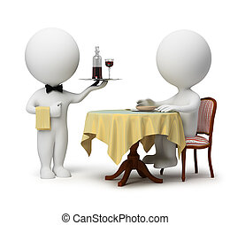 3d small people - client sitting at a table and the waiter with a tray. 3d image. Isolated white background.