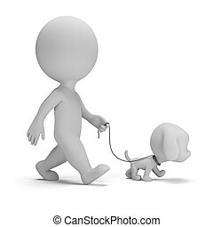 3d small man walking a little puppy. 3d image. White background.