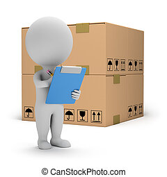 3d small person with clipboard and boxes. 3d image. White background.