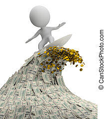 3d small person - surfer on a wave of cash. 3d image. Isolated white background.