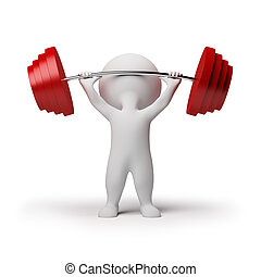 3d small person the lifting heavy weight. 3d image. Isolated white background.