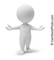 3d small people inviting. 3d image. Isolated white background.