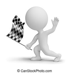 3d small people whitch a checkered flag - 3d small people ...