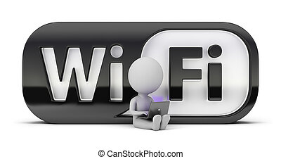 3d small people - wifi - 3d small person sitting with a...