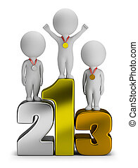 3d small people - winners standing on numbers. 3d image....