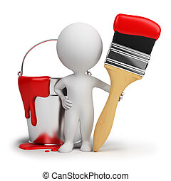 3d small people with a brush and a bucket with a paint. 3d image. Isolated white background.