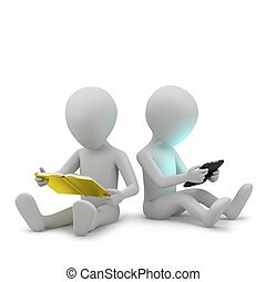 3d small people with a book and a tablet PC.