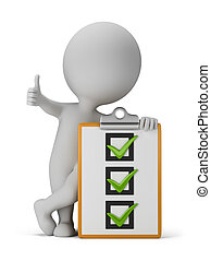 3d small person with a checklist. 3d image. White background.