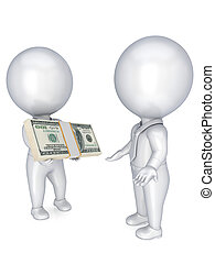 3d small people with a dollar pack in a hands.
