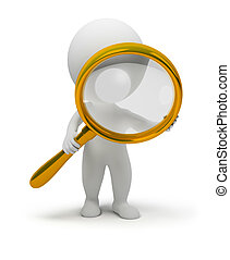 3d small people with a magnifier in hands. 3d image. ...
