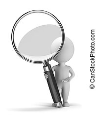 3d small people with a magnifying glass. 3d image. Isolated white background.