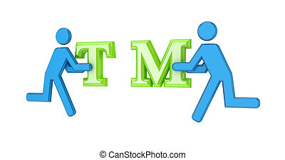 3d small people with a trademark symbol in a hands