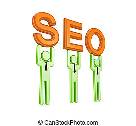 3d small people with a word SEO in a hands.